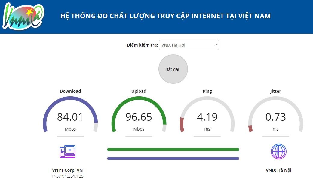 Trung tâm Internet Việt Nam công bố Hệ thống đo chất lượng truy cập Internet